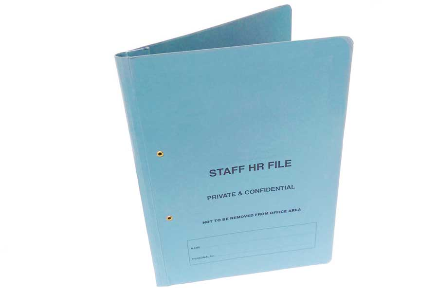 Spring Clip folder available for your company's HR department.