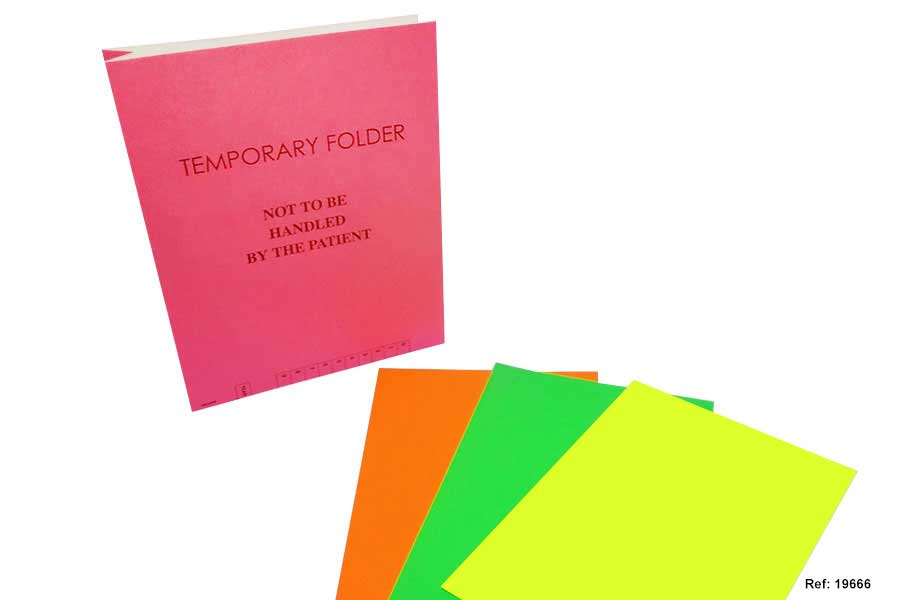 Temporary Folders available in a selection of Flourescent colours.