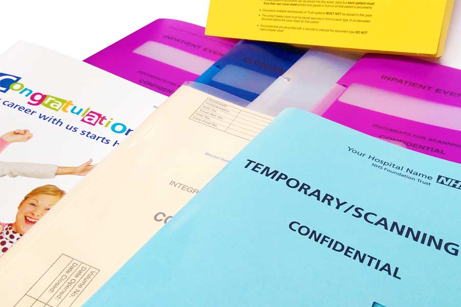Temporary Folders from ESL Available in any Colour, Size and Bespoke Print.